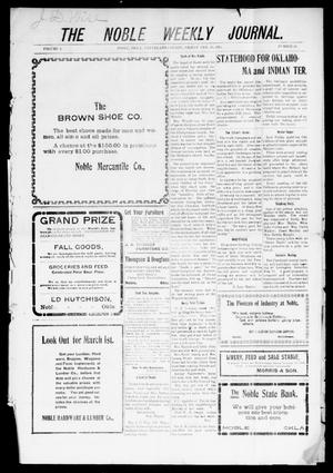 The Noble Weekly Journal. (Noble, Okla.), Vol. 1, No. 18, Ed. 1 Friday, February 10, 1905