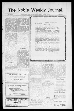 Primary view of object titled 'The Noble Weekly Journal. (Noble, Okla.), Vol. 1, No. 22, Ed. 1 Friday, March 10, 1905'.