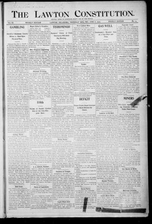 Primary view of object titled 'The Lawton Constitution. (Lawton, Okla.), Vol. 3, No. 14, Ed. 1 Thursday, June 8, 1905'.