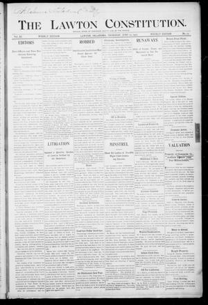 Primary view of object titled 'The Lawton Constitution. (Lawton, Okla.), Vol. 3, No. 15, Ed. 1 Thursday, June 15, 1905'.