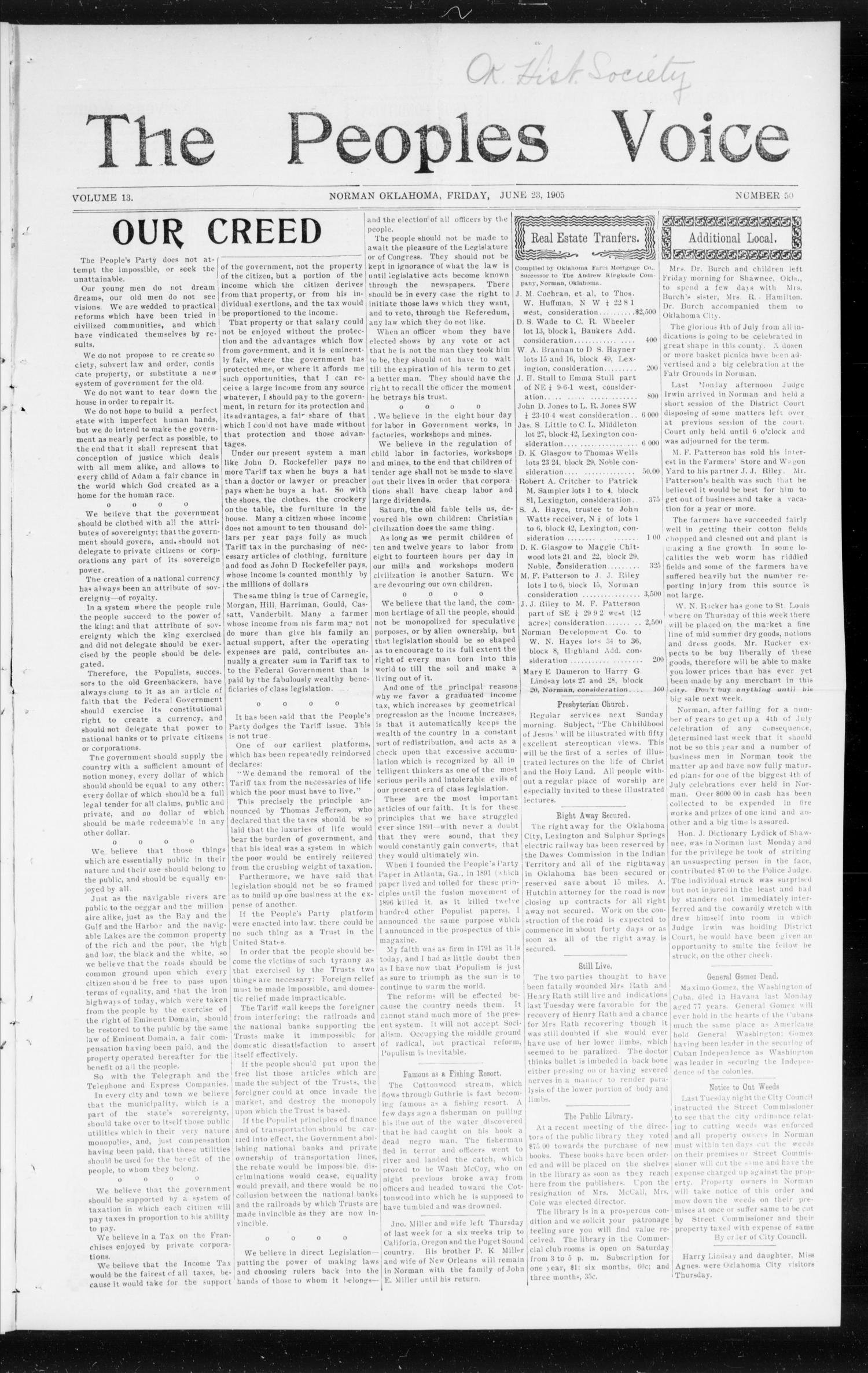 The Peoples Voice (Norman, Okla.), Vol. 13, No. 50, Ed. 1 Friday, June 23, 1905                                                                                                      [Sequence #]: 1 of 8