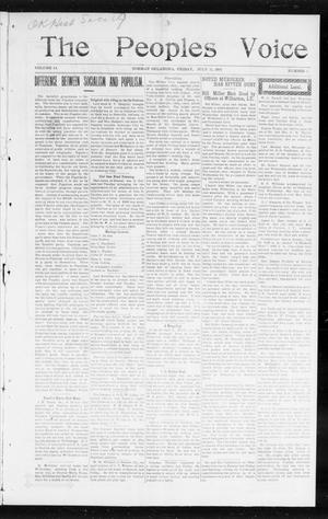 Primary view of object titled 'The Peoples Voice (Norman, Okla.), Vol. 14, No. 2, Ed. 1 Friday, July 21, 1905'.