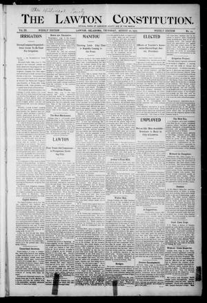 Primary view of object titled 'The Lawton Constitution. (Lawton, Okla.), Vol. 3, No. 23, Ed. 1 Thursday, August 10, 1905'.