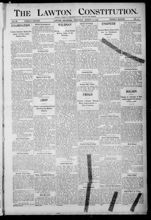 Primary view of object titled 'The Lawton Constitution. (Lawton, Okla.), Vol. 3, No. 24, Ed. 1 Thursday, August 17, 1905'.