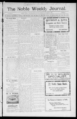 Primary view of object titled 'The Noble Weekly Journal. (Noble, Okla.), Vol. 2, No. 3, Ed. 1 Friday, October 27, 1905'.