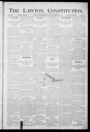 Primary view of object titled 'The Lawton Constitution. (Lawton, Okla.), Vol. 3, No. 37, Ed. 1 Thursday, November 16, 1905'.