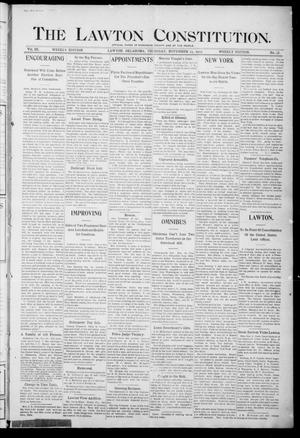 Primary view of object titled 'The Lawton Constitution. (Lawton, Okla.), Vol. 3, No. 38, Ed. 1 Thursday, November 23, 1905'.