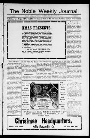 Primary view of object titled 'The Noble Weekly Journal. (Noble, Okla.), Vol. 2, No. 11, Ed. 1 Friday, December 22, 1905'.