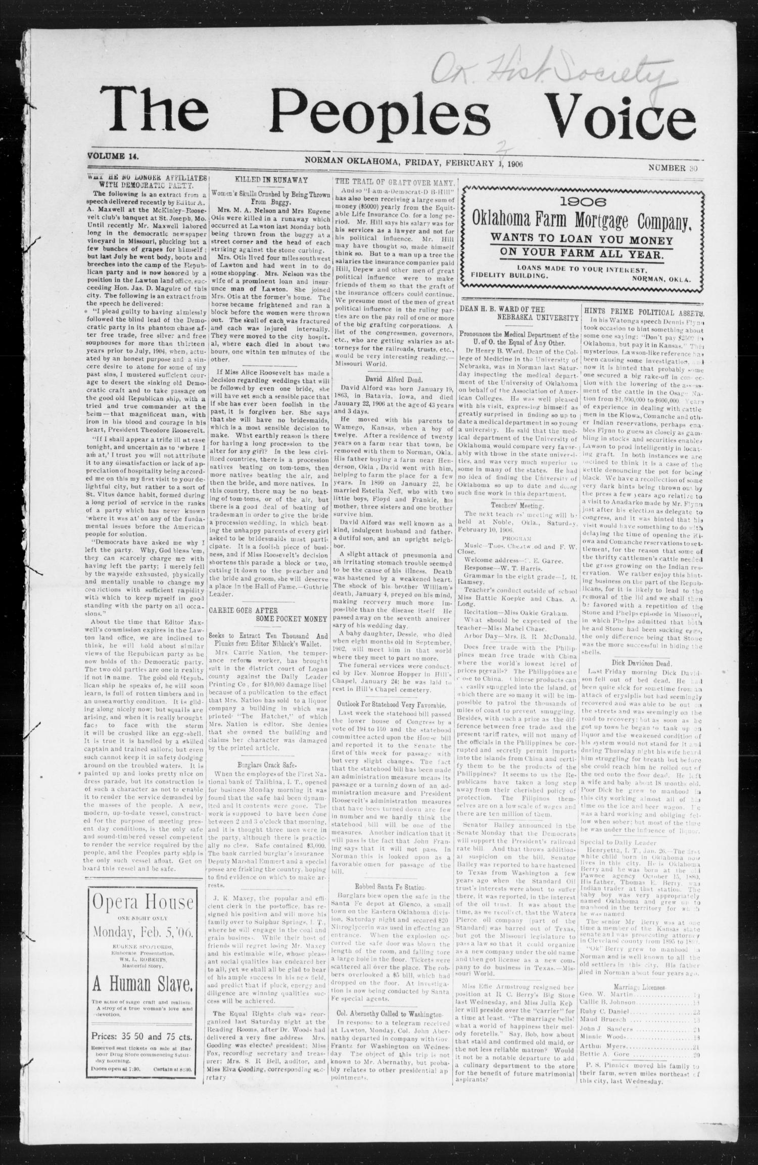 The Peoples Voice (Norman, Okla.), Vol. 14, No. 30, Ed. 1 Friday, February 2, 1906                                                                                                      [Sequence #]: 1 of 8