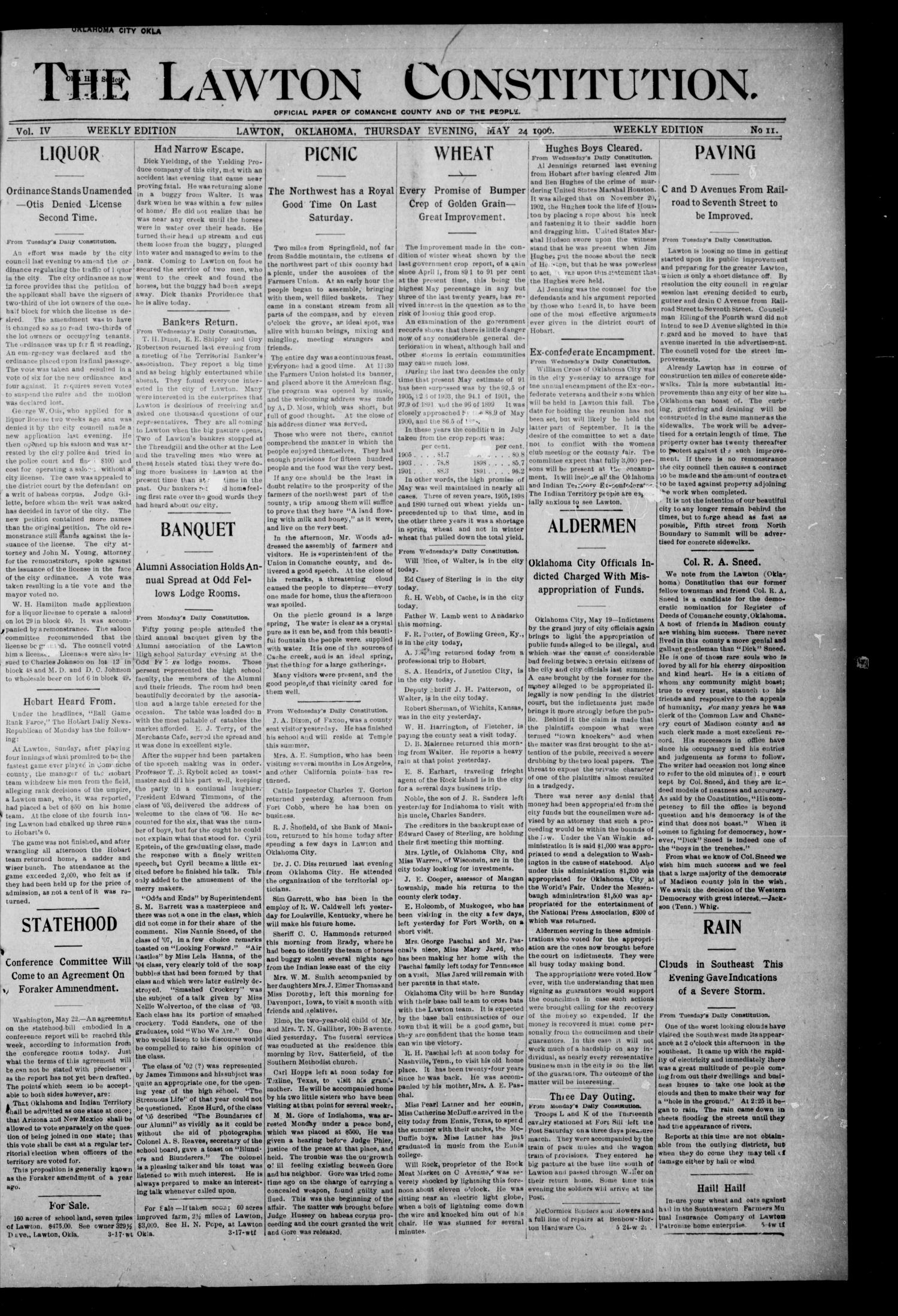 The Lawton Constitution. (Lawton, Okla.), Vol. 4, No. 12, Ed. 1 Thursday, May 24, 1906                                                                                                      [Sequence #]: 1 of 8