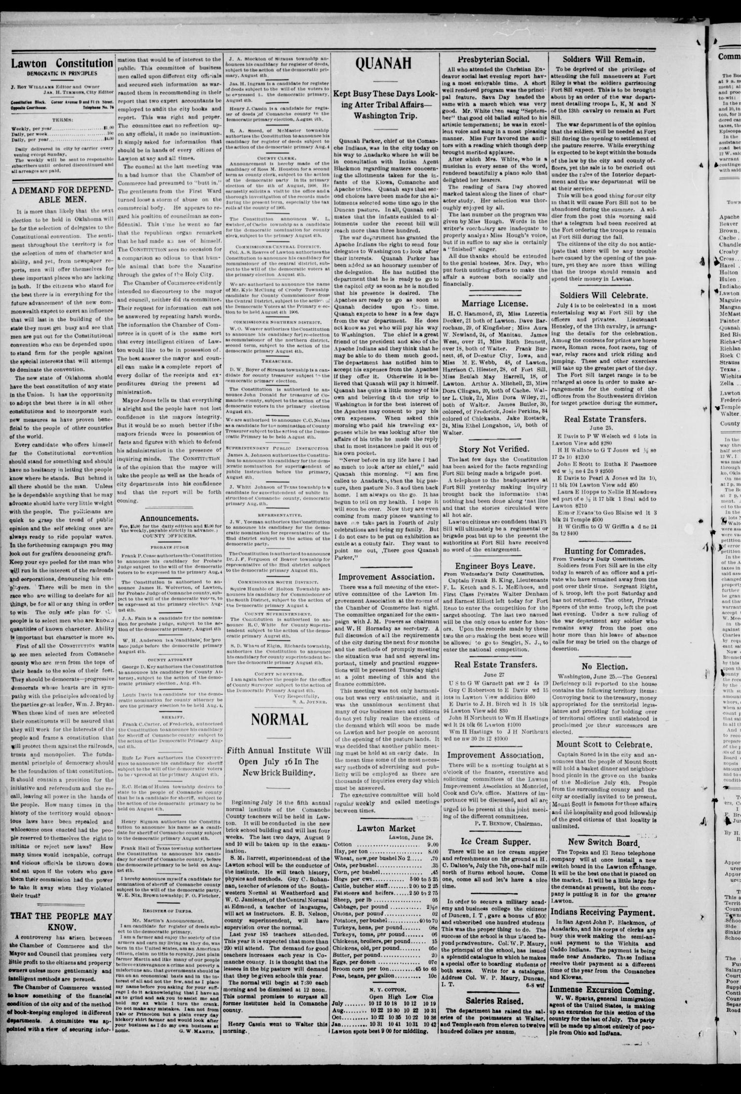 The Lawton Constitution. (Lawton, Okla.), Vol. 4, No. 16, Ed. 1 Thursday, June 28, 1906                                                                                                      [Sequence #]: 4 of 8