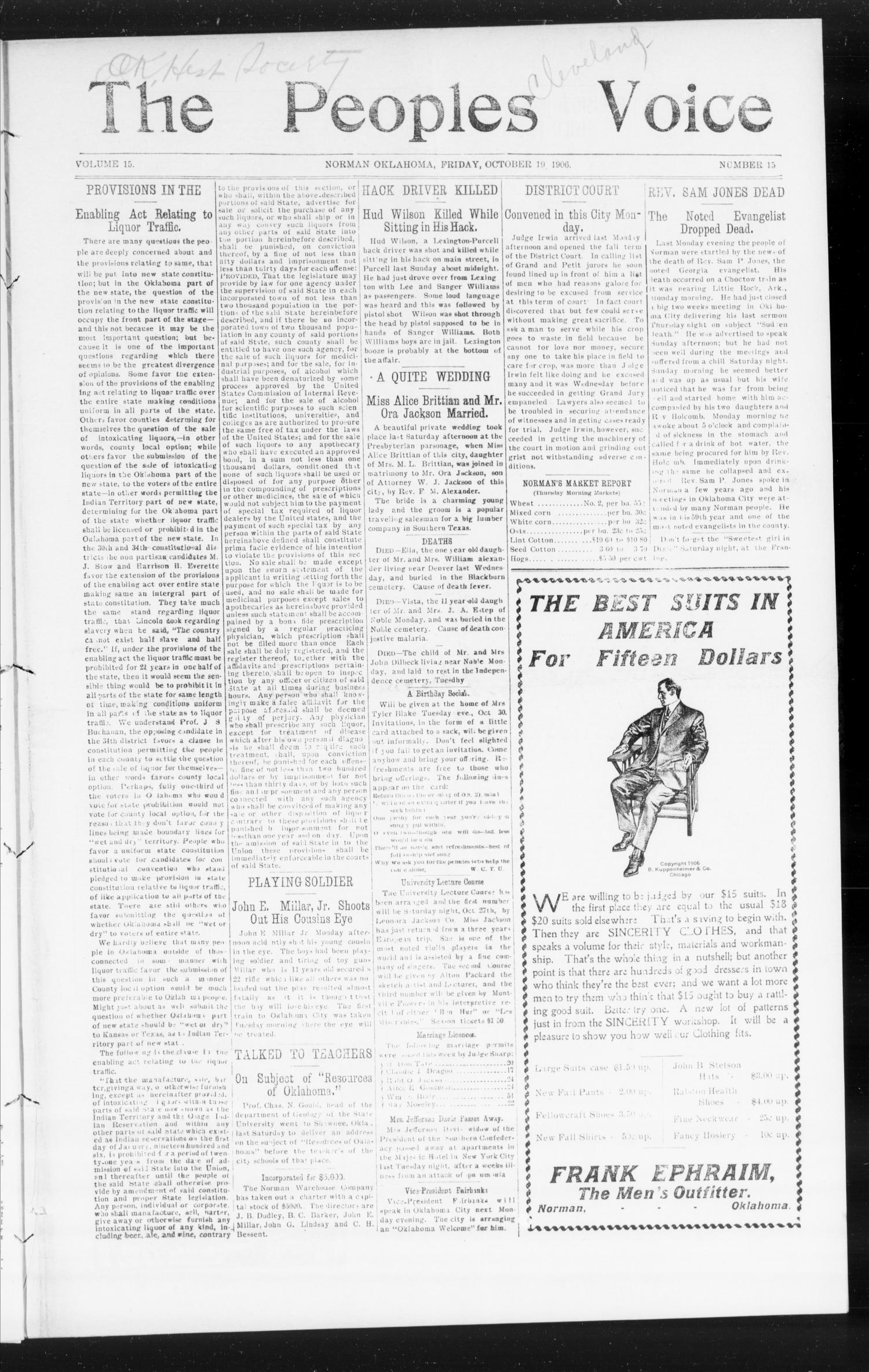 The Peoples Voice (Norman, Okla.), Vol. 15, No. 15, Ed. 1 Friday, October 19, 1906                                                                                                      [Sequence #]: 1 of 8