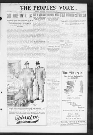 Primary view of object titled 'The Peoples' Voice (Norman, Okla.), Vol. 17, No. 35, Ed. 1 Friday, March 12, 1909'.