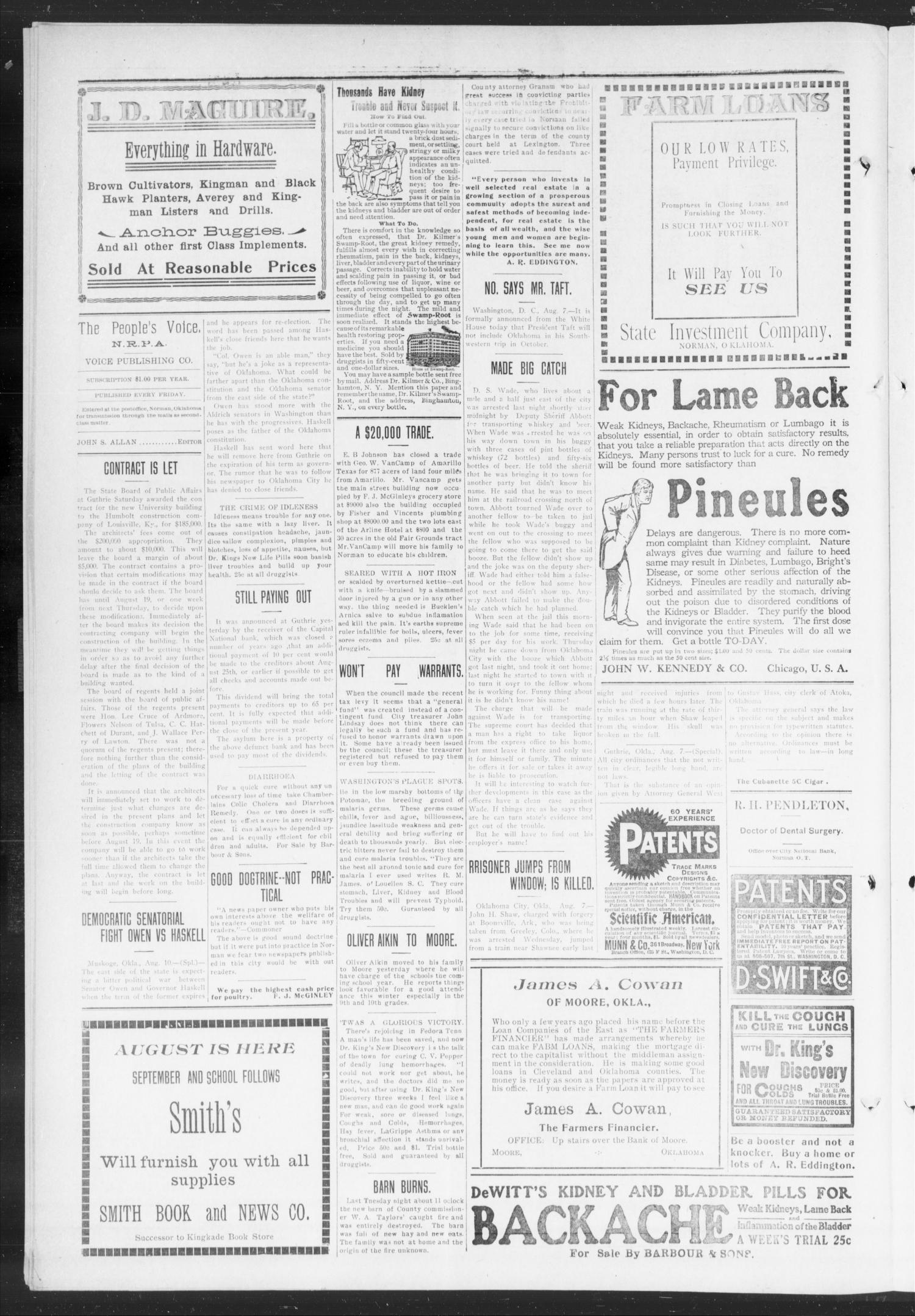 The Peoples' Voice (Norman, Okla.), Vol. 18, No. 5, Ed. 1 Friday, August 13, 1909                                                                                                      [Sequence #]: 4 of 8
