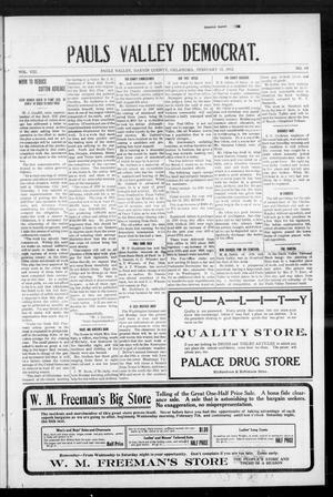Primary view of object titled 'Pauls Valley Democrat. (Pauls Valley, Okla.), Vol. 8, No. 48, Ed. 1 Thursday, February 15, 1912'.