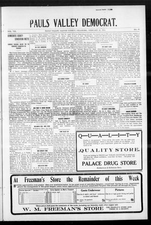 Primary view of object titled 'Pauls Valley Democrat. (Pauls Valley, Okla.), Vol. 8, No. 49, Ed. 1 Thursday, February 22, 1912'.