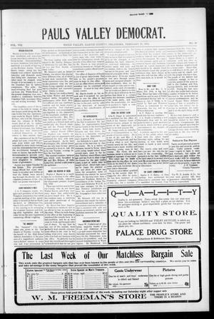 Primary view of object titled 'Pauls Valley Democrat. (Pauls Valley, Okla.), Vol. 8, No. 50, Ed. 1 Thursday, February 29, 1912'.
