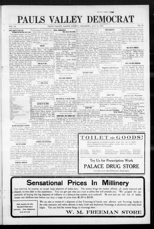 Primary view of object titled 'Pauls Valley Democrat (Pauls Valley, Okla.), Vol. 9, No. 10, Ed. 1 Thursday, May 23, 1912'.