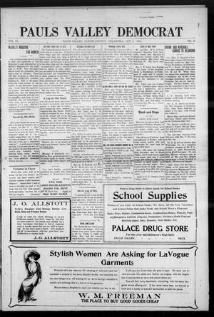 Primary view of object titled 'Pauls Valley Democrat (Pauls Valley, Okla.), Vol. 9, No. 29, Ed. 1 Thursday, October 3, 1912'.