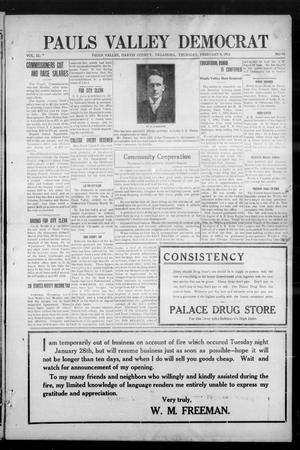 Primary view of object titled 'Pauls Valley Democrat (Pauls Valley, Okla.), Vol. 9, No. 47, Ed. 1 Thursday, February 6, 1913'.