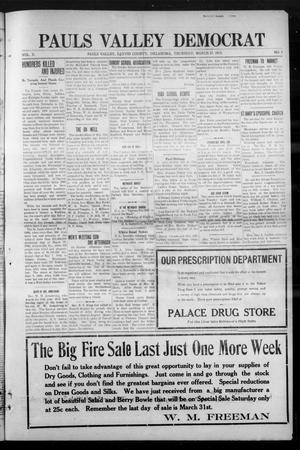 Primary view of object titled 'Pauls Valley Democrat (Pauls Valley, Okla.), Vol. 10, No. 2, Ed. 1 Thursday, March 27, 1913'.