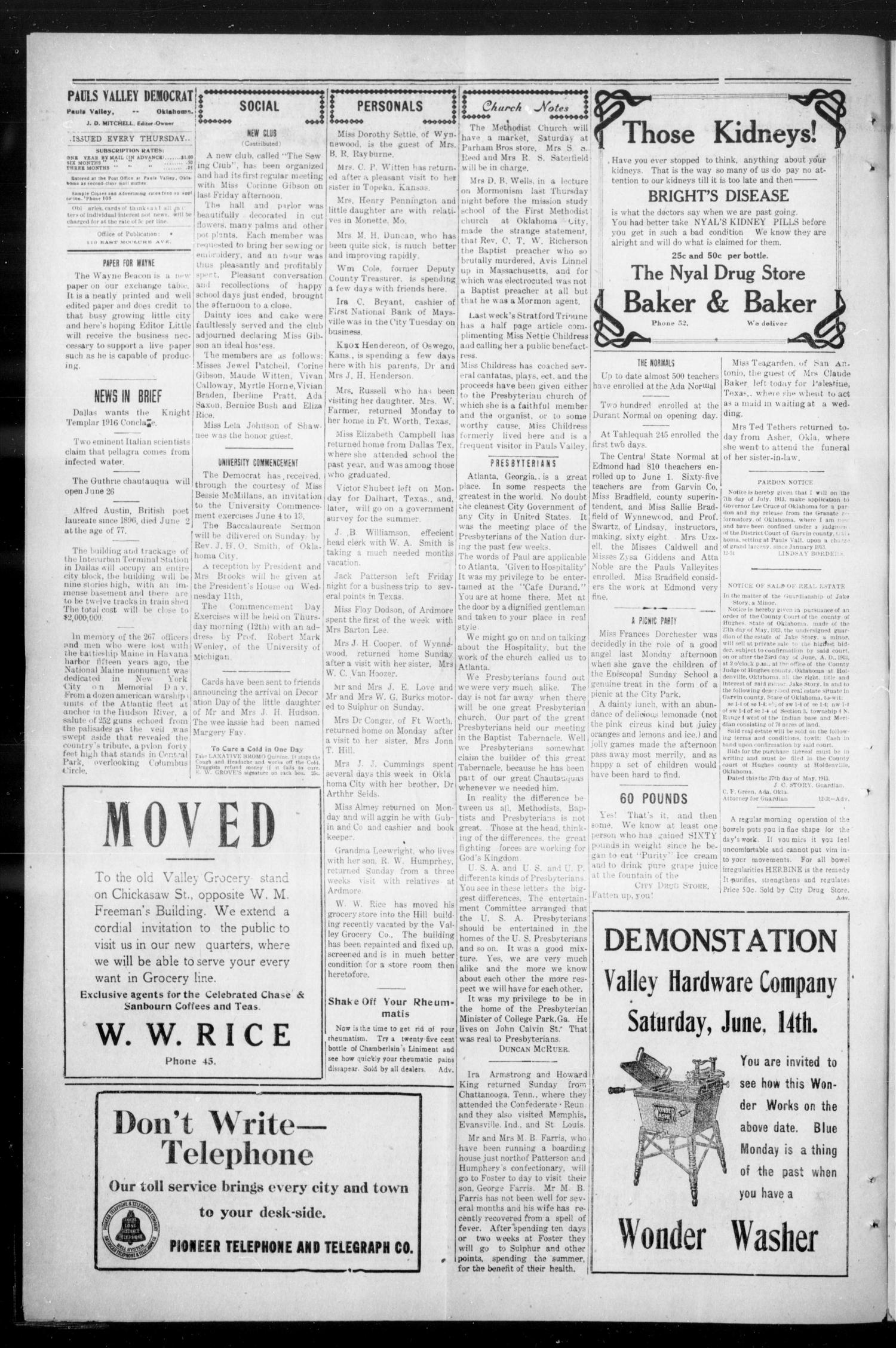 Pauls Valley Democrat (Pauls Valley, Okla.), Vol. 10, No. 12, Ed. 1 Thursday, June 5, 1913                                                                                                      [Sequence #]: 4 of 8