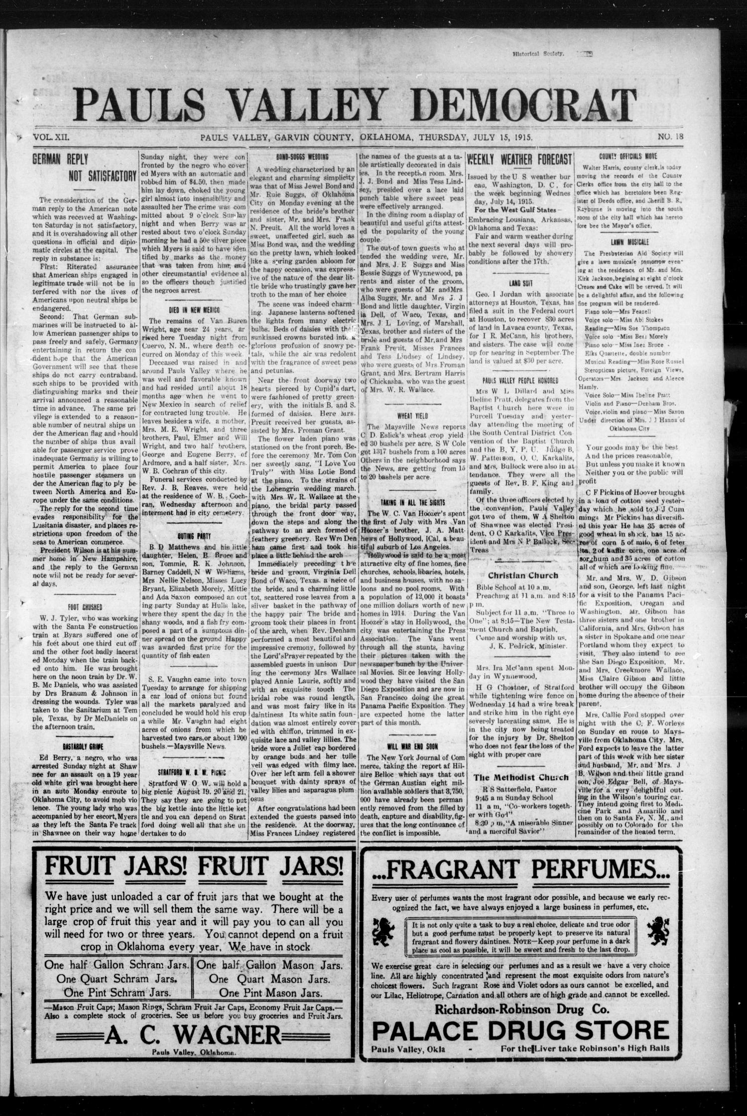 Pauls Valley Democrat (Pauls Valley, Okla.), Vol. 12, No. 18, Ed. 1 Thursday, July 15, 1915                                                                                                      [Sequence #]: 1 of 8