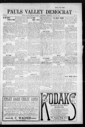 Primary view of object titled 'Pauls Valley Democrat (Pauls Valley, Okla.), Vol. 12, No. 19, Ed. 1 Thursday, July 22, 1915'.