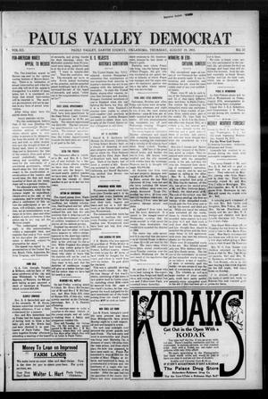 Primary view of object titled 'Pauls Valley Democrat (Pauls Valley, Okla.), Vol. 12, No. 23, Ed. 1 Thursday, August 19, 1915'.