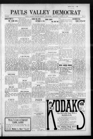 Primary view of object titled 'Pauls Valley Democrat (Pauls Valley, Okla.), Vol. 12, No. 24, Ed. 1 Thursday, August 26, 1915'.