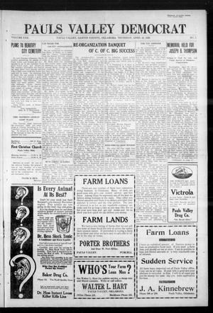 Primary view of Pauls Valley Democrat (Pauls Valley, Okla.), Vol. 17, No. 7, Ed. 1 Thursday, April 22, 1920