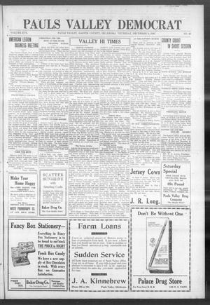 Primary view of object titled 'Pauls Valley Democrat (Pauls Valley, Okla.), Vol. 17, No. 40, Ed. 1 Thursday, December 9, 1920'.