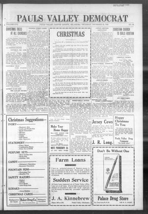 Primary view of object titled 'Pauls Valley Democrat (Pauls Valley, Okla.), Vol. 17, No. 42, Ed. 1 Thursday, December 23, 1920'.