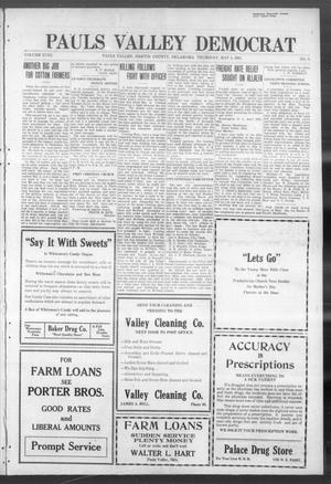 Primary view of object titled 'Pauls Valley Democrat (Pauls Valley, Okla.), Vol. 18, No. 9, Ed. 1 Thursday, May 5, 1921'.