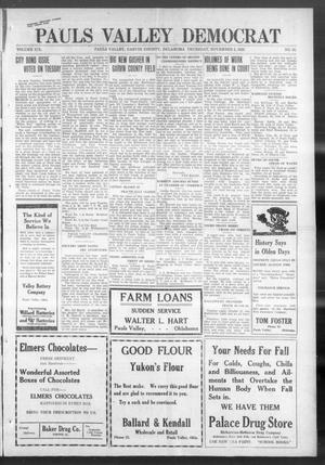 Primary view of Pauls Valley Democrat (Pauls Valley, Okla.), Vol. 18, No. 35, Ed. 1 Thursday, November 2, 1922