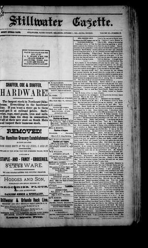 Primary view of Stillwater Gazette. (Stillwater, Okla.), Vol. 3, No. 42, Ed. 1 Saturday, October 1, 1892