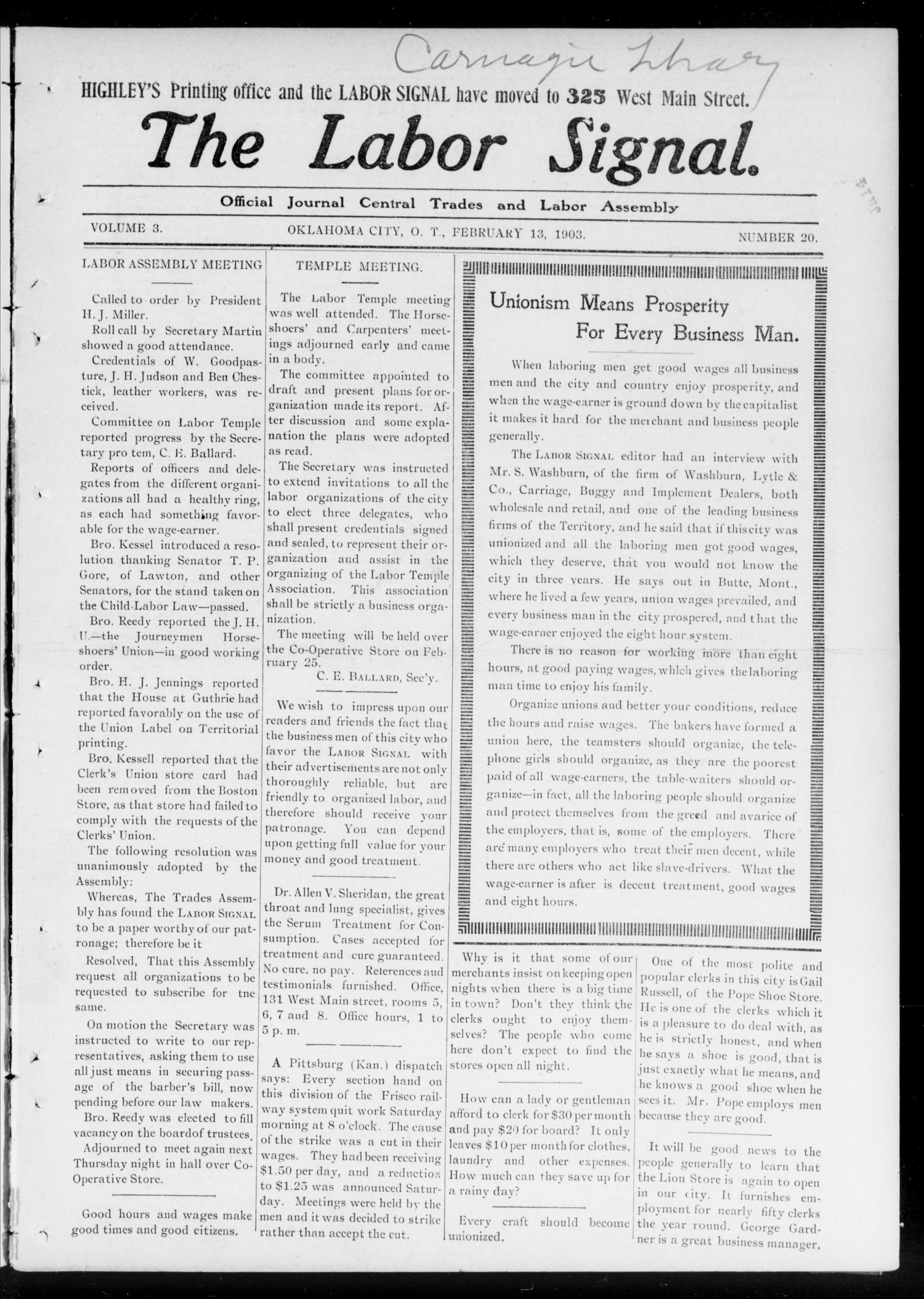 The Labor Signal. (Oklahoma City, Okla. Terr.), Vol. 3, No. 18, Ed. 1 Friday, February 13, 1903                                                                                                      [Sequence #]: 1 of 16