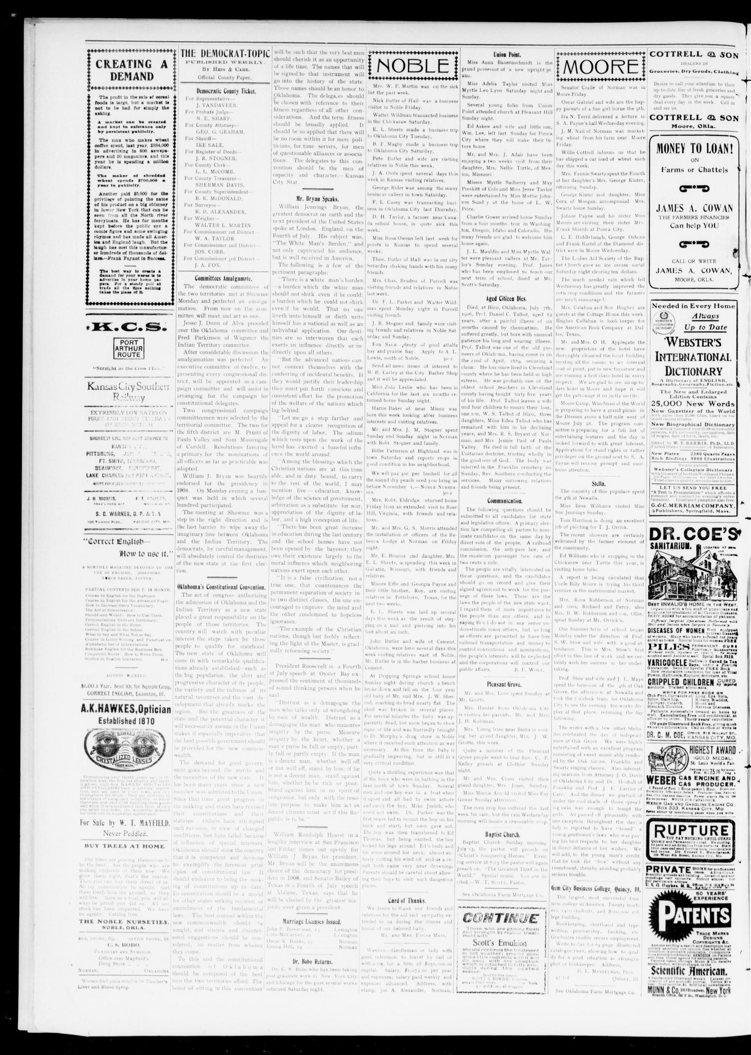 Norman Democrat--Topic. (Norman, Okla.), Vol. 15, No. 51, Ed. 1 Friday, July 13, 1906                                                                                                      [Sequence #]: 2 of 6