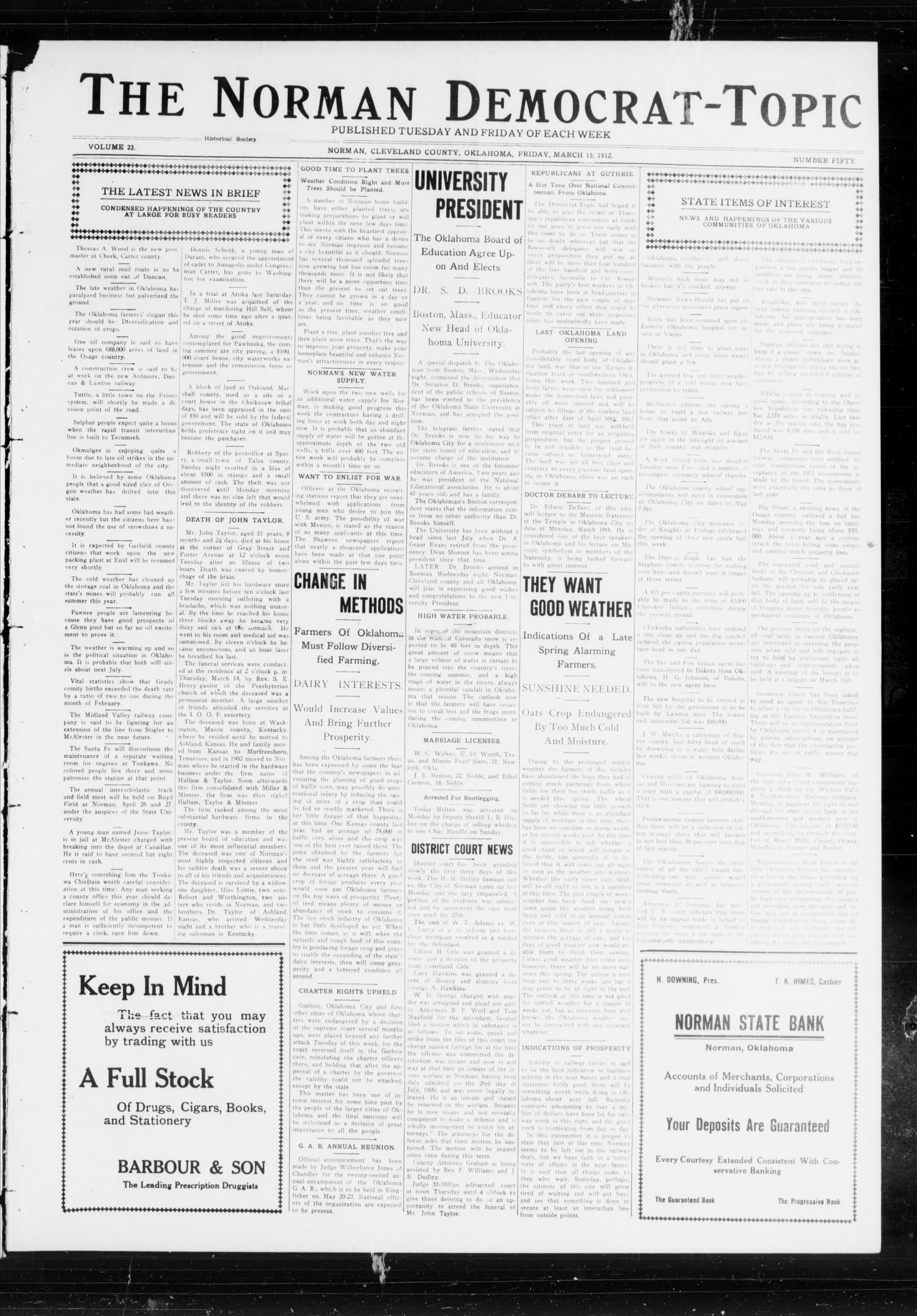 The Norman Democrat-Topic (Norman, Okla.), Vol. 23, No. 50, Ed. 1 Friday, March 15, 1912                                                                                                      [Sequence #]: 1 of 4