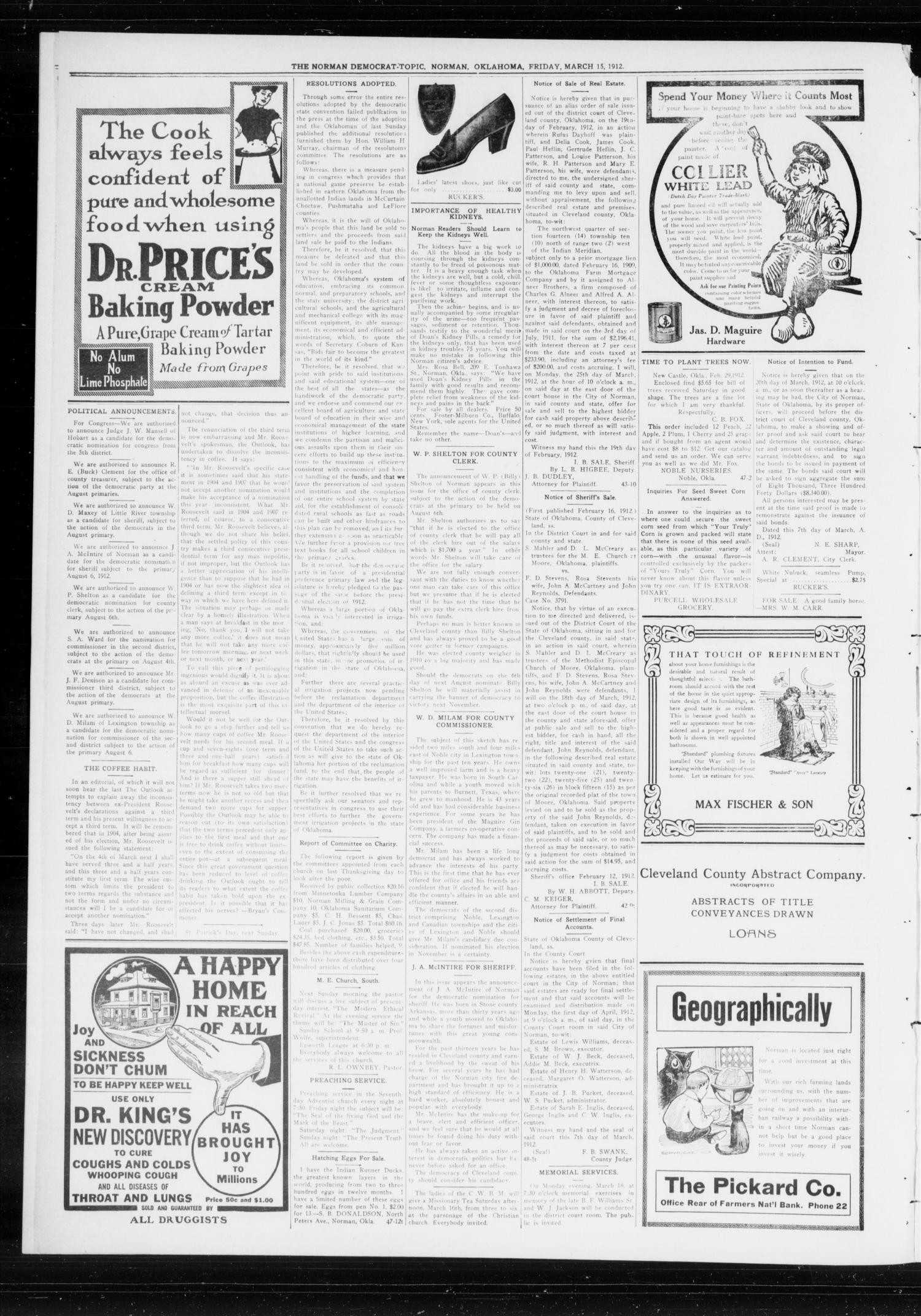 The Norman Democrat-Topic (Norman, Okla.), Vol. 23, No. 50, Ed. 1 Friday, March 15, 1912                                                                                                      [Sequence #]: 2 of 4