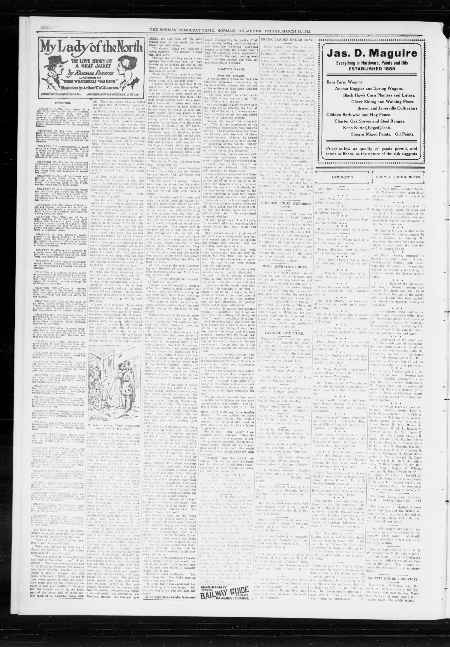The Norman Democrat-Topic (Norman, Okla.), Vol. 23, No. 50, Ed. 1 Friday, March 15, 1912                                                                                                      [Sequence #]: 4 of 4