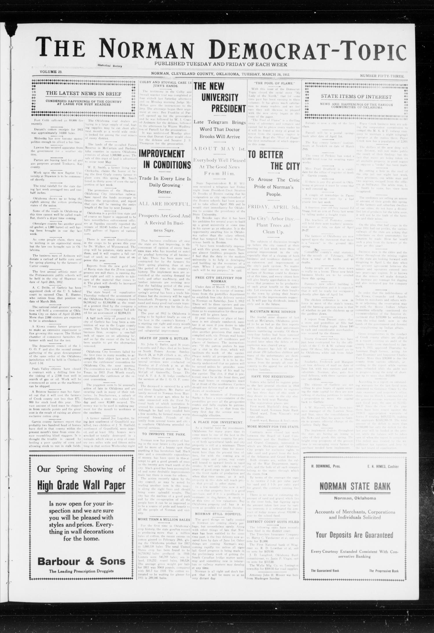 The Norman Democrat-Topic (Norman, Okla.), Vol. 23, No. 53, Ed. 1 Tuesday, March 26, 1912                                                                                                      [Sequence #]: 1 of 4