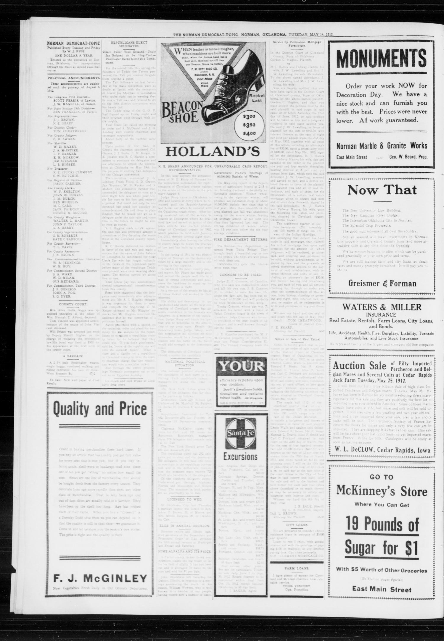 The Norman Democrat-Topic (Norman, Okla.), Vol. 23, No. 67, Ed. 1 Tuesday, May 14, 1912                                                                                                      [Sequence #]: 2 of 4