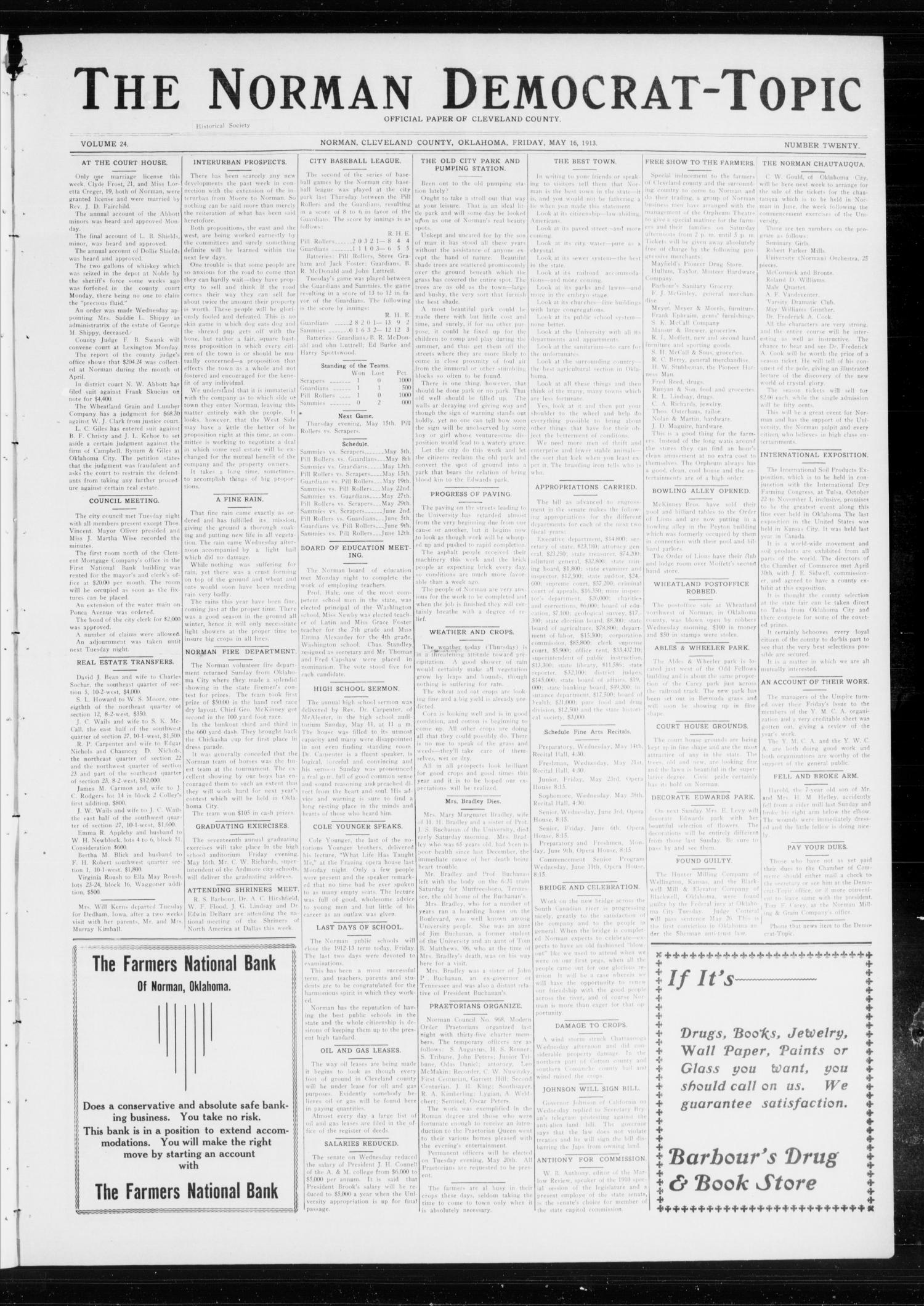 The Norman Democrat-Topic (Norman, Okla.), Vol. 24, No. 20, Ed. 1 Friday, May 16, 1913                                                                                                      [Sequence #]: 1 of 6