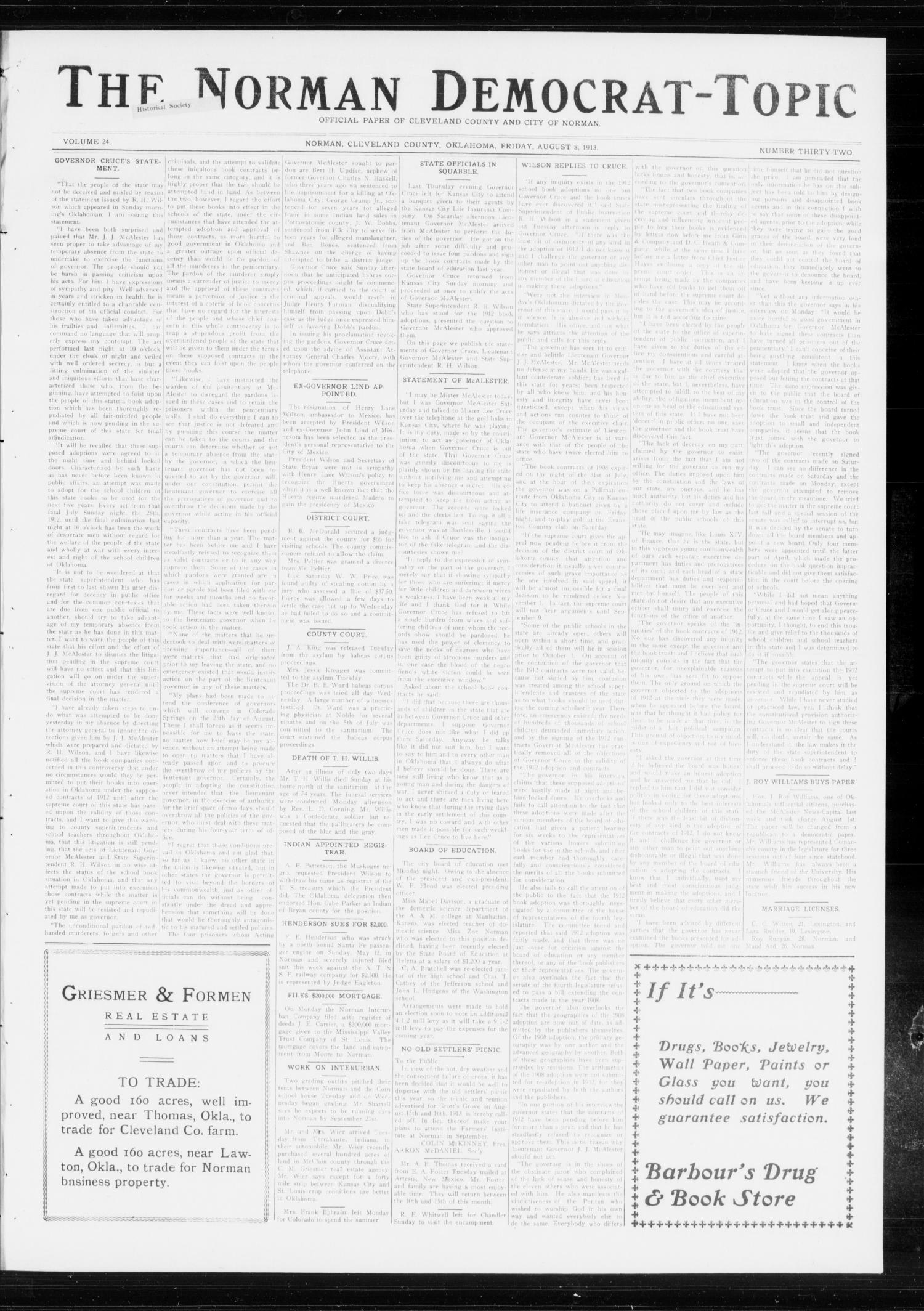 The Norman Democrat-Topic (Norman, Okla.), Vol. 24, No. 32, Ed. 1 Friday, August 8, 1913                                                                                                      [Sequence #]: 1 of 4