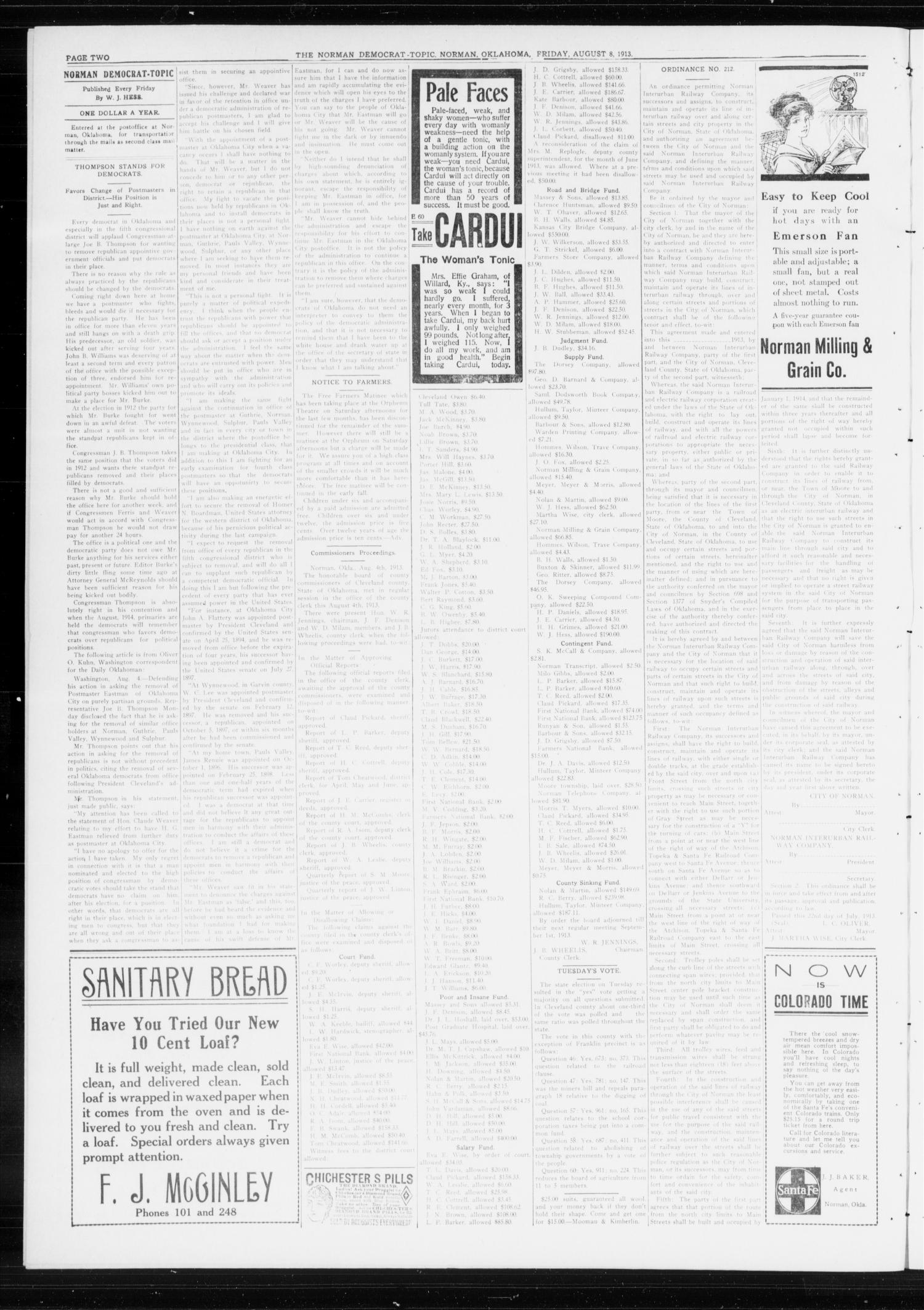The Norman Democrat-Topic (Norman, Okla.), Vol. 24, No. 32, Ed. 1 Friday, August 8, 1913                                                                                                      [Sequence #]: 2 of 4
