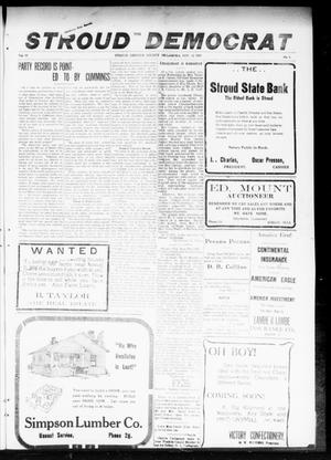 Primary view of object titled 'The Stroud Democrat (Stroud, Okla.), Vol. 10, No. 4, Ed. 1 Friday, November 21, 1919'.