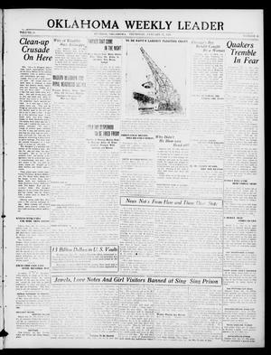 Primary view of object titled 'Oklahoma Weekly Leader (Guthrie, Okla.), Vol. 30, No. 46, Ed. 1 Thursday, January 27, 1921'.