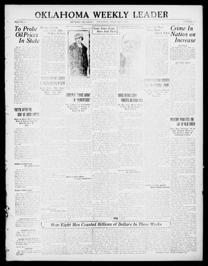 Primary view of object titled 'Oklahoma Weekly Leader (Guthrie, Okla.), Vol. 30, No. 47, Ed. 1 Thursday, February 3, 1921'.