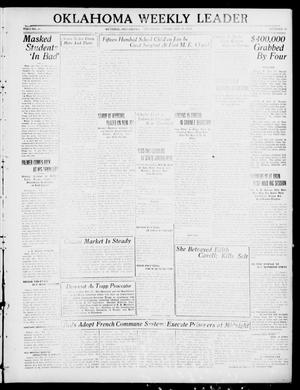 Primary view of object titled 'Oklahoma Weekly Leader (Guthrie, Okla.), Vol. 30, No. 49, Ed. 1 Thursday, February 17, 1921'.